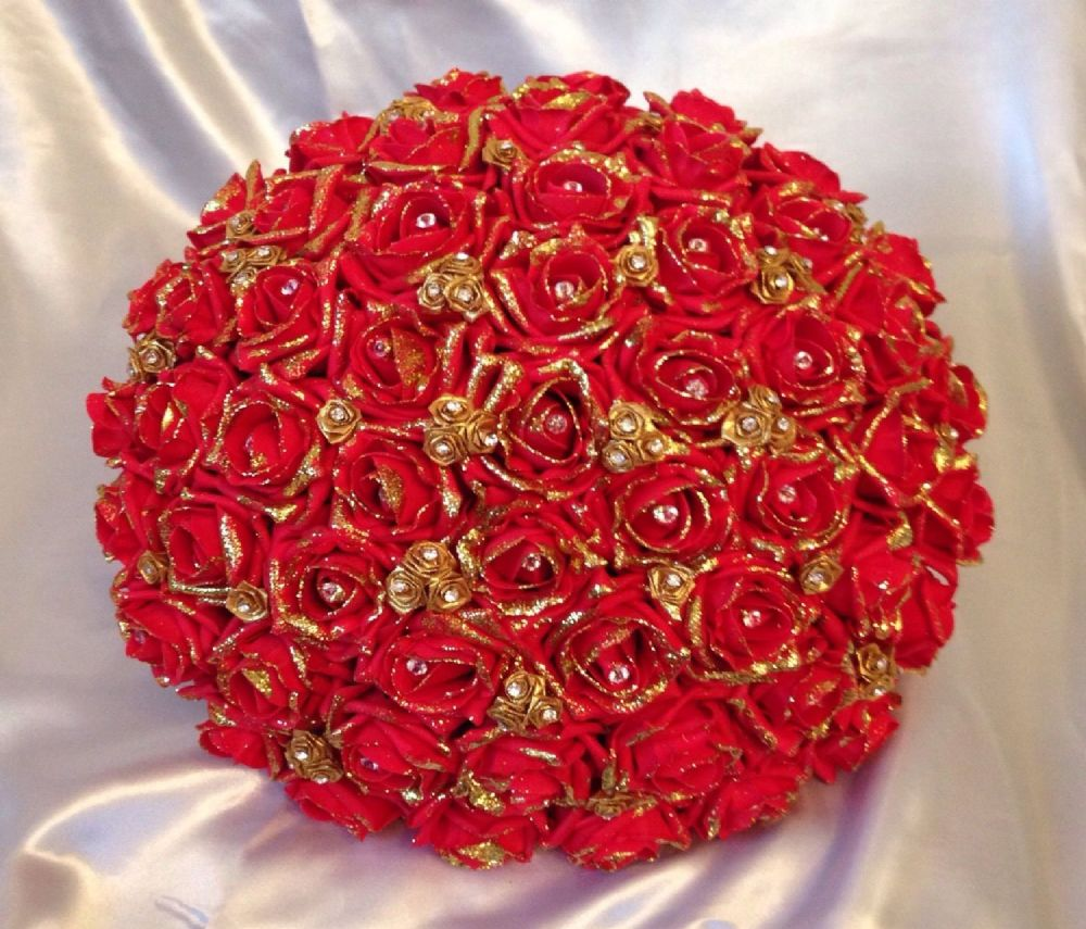 Artificial Wedding Flowers Red Gold Foam Rose Bride